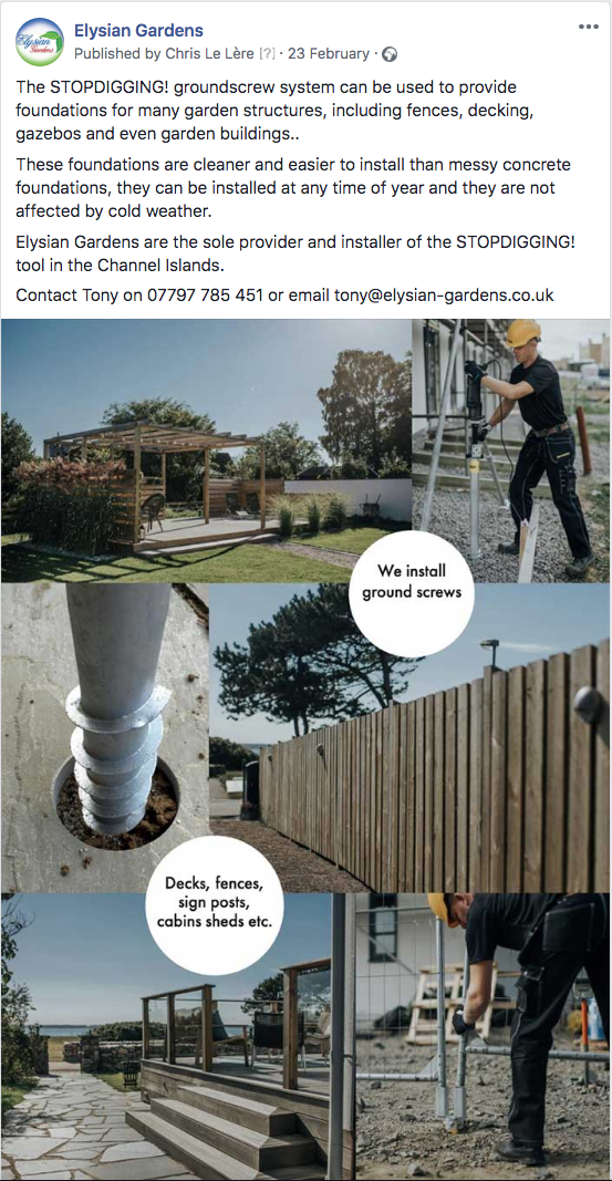 Elysian Gardens Facebook post ground screw