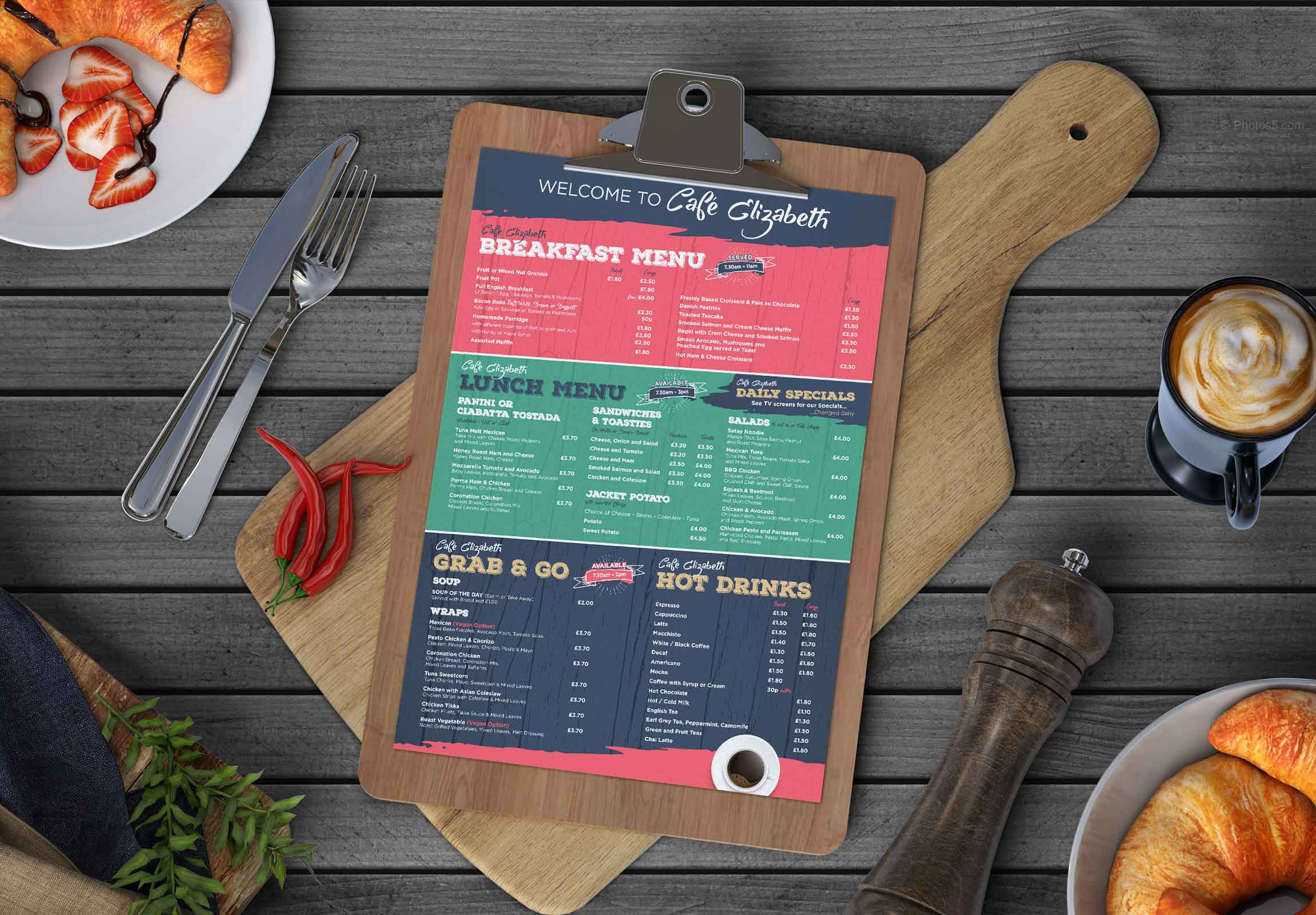 Webby Design menu design and print