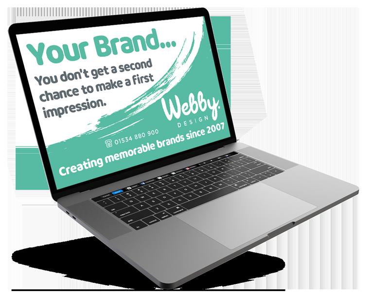 Webby.Design Laptop promoting Logo Design Services