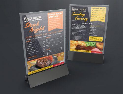 The Daily Globe Jersey – Restaurant Menu Design & Print