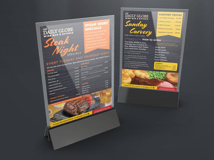 Webby Design Restaurant Menu Design and Print The Daily Globe Jersey